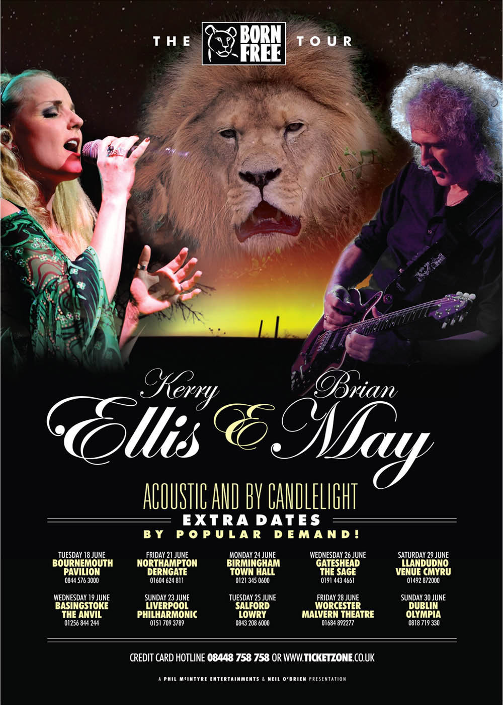 Brian May i Kerry Ellis plakat Born Free Tour
